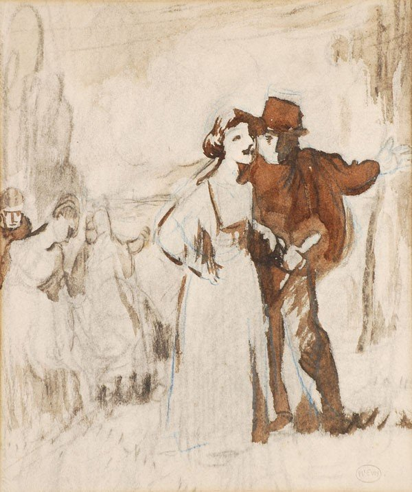 1: Ambrose McEvoy (1878-1927) Two figures Pencil, col