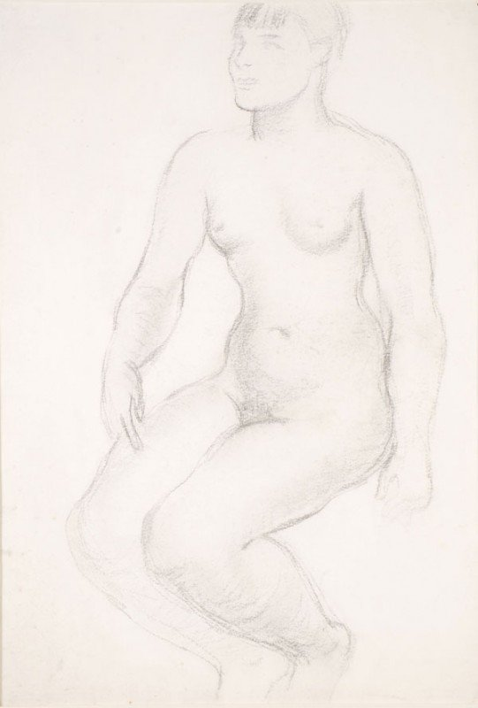 3: Frank Dobson, RA (1888-1963) Seated Nude Pencil dr