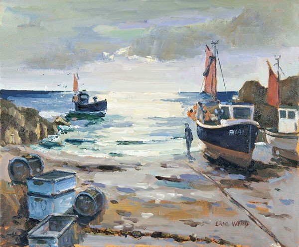 7: Eric Ward (b.1945) Fishing boats at Cadgwith Cove