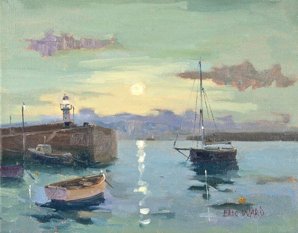 8: Eric Ward (b.1945) Full Moon, St Ives Oil on canva