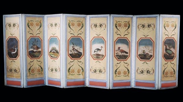 2: An eight fold painted canvas screen, in 19th centu