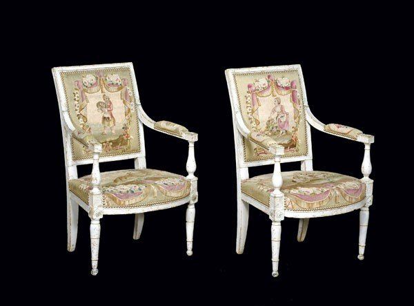 7: A pair of painted fauteuils with tapestry upholste