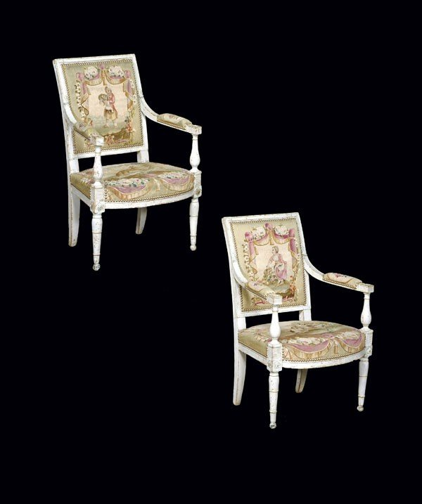 8: A pair of painted fauteuils with tapestry upholste