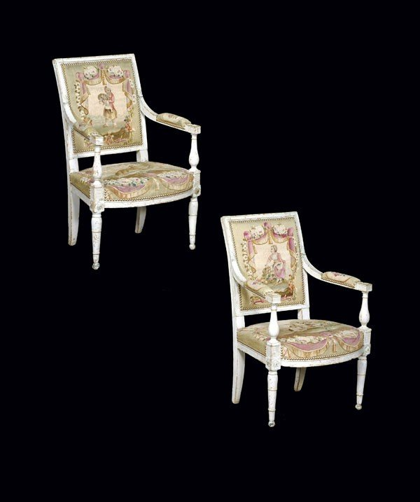 9: A pair of painted fauteuils with tapestry upholste