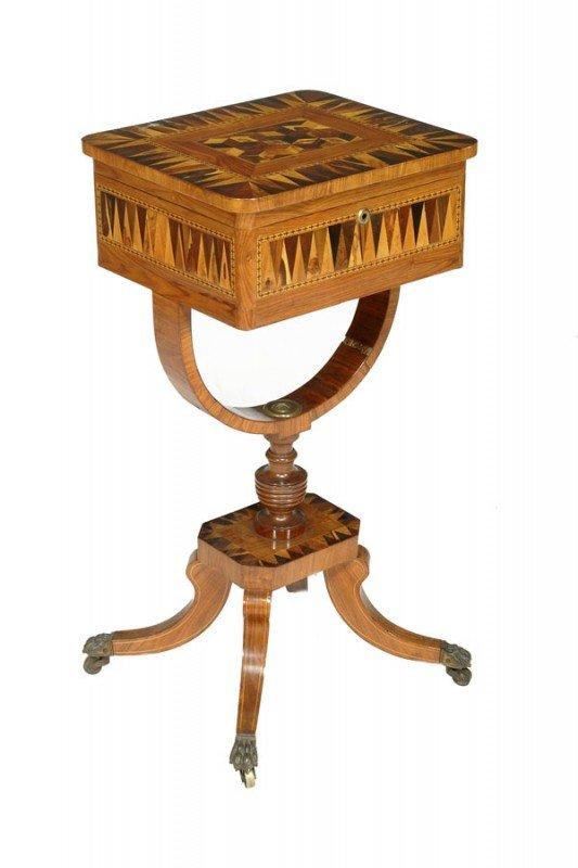 13: A work table, in George III Tunbridgeware style, t