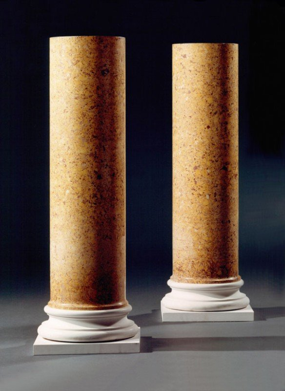 18: A pair of scagliola columns, of cylindrical form s