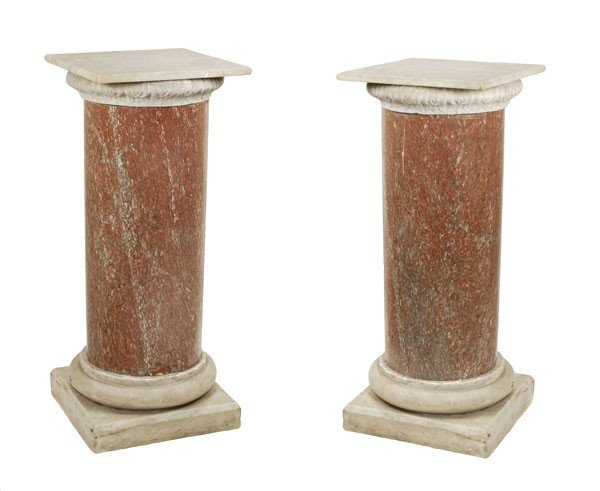 19: A pair of rouge marble columns, similar to lot 18