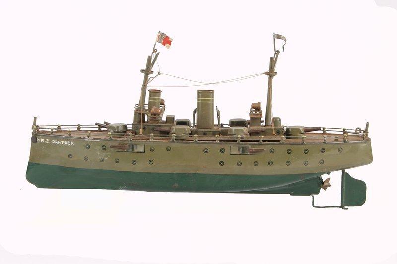 553: A Marklin tinplate battleship, circa 1910, grey-gr