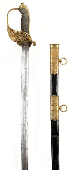 6: A Victorian Naval Officer's Sword, with a single-e