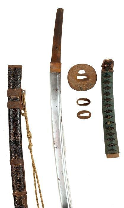 10: A Japanese Katana, 19th Century, with curved singl