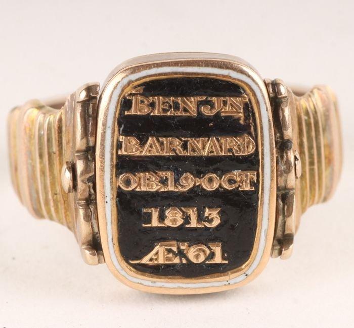 1: An unusual late George III gold mourning ring, cir