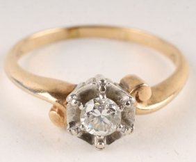 A Diamond Single Stone Ring, Stamped '14K', The Br