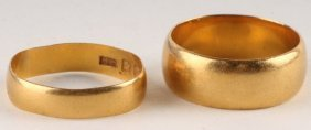 A 22 Carat Gold Wedding Ring, Of Shallow D Section