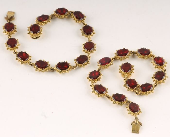 132: A pair of early Victorian paste bracelets, the ova