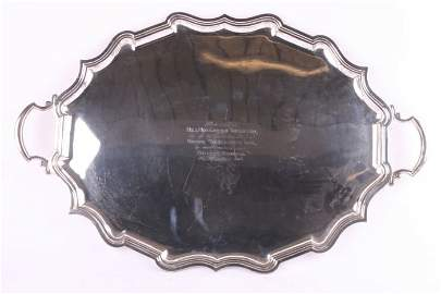 506: A silver two handled tray, by Elkington & Co, Birm