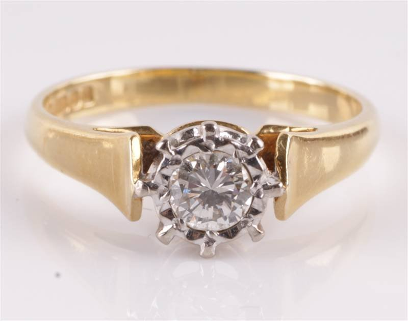 A single stone diamond 18 carat gold ring, Birming