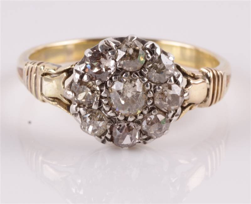 A late Victorian diamond nine stone cluster ring,