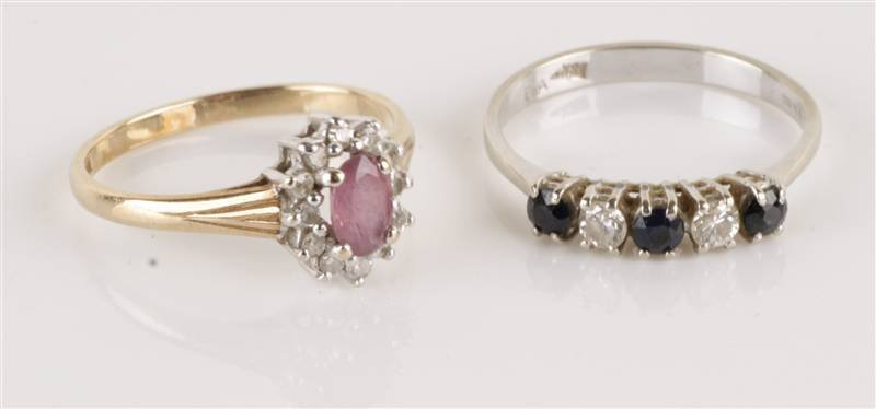 A diamond and sapphire five stone 18 carat white g