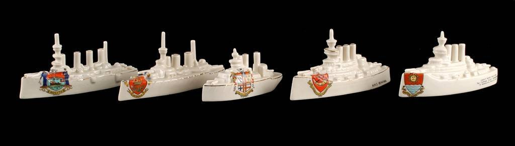Model of Battleship by Carlton China, inscribed 'H