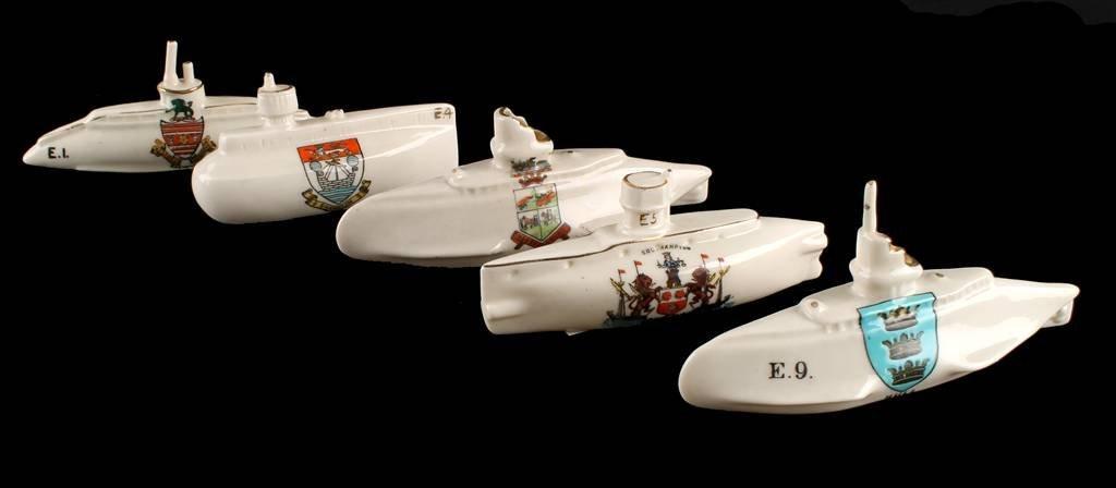 Model of Submarine by Carlton China, inscribed 'E9