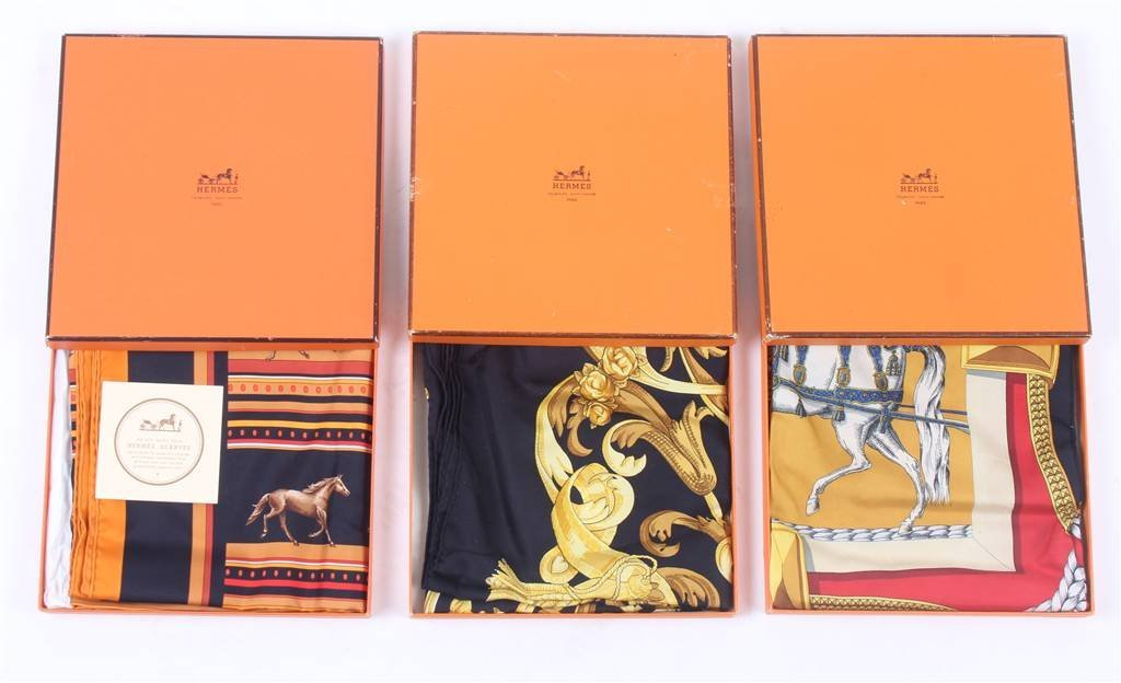 Six Hermes scarves, together with seven original b