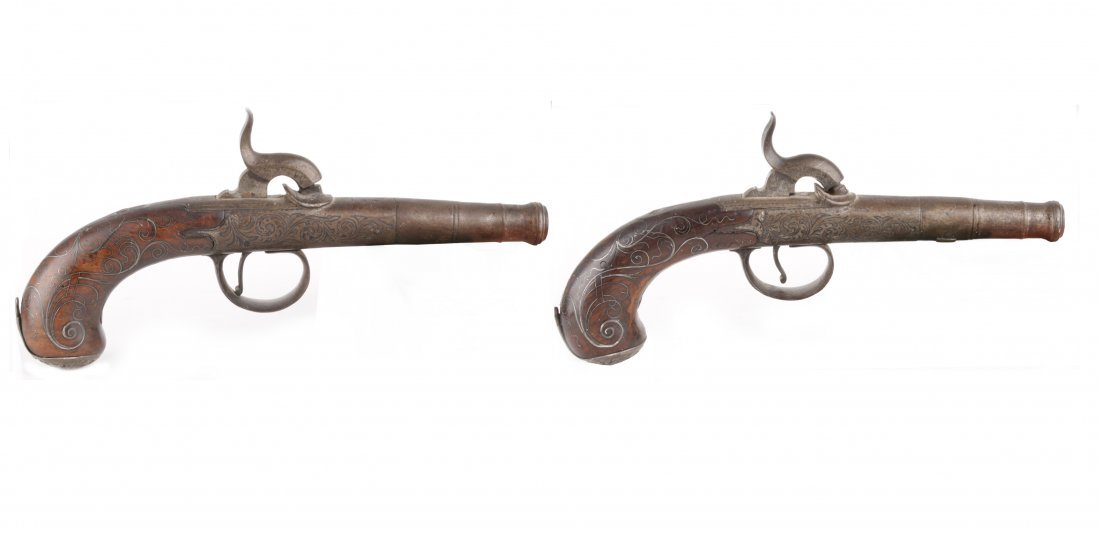 A Pair of Percussion Pocket Pistols Converted from