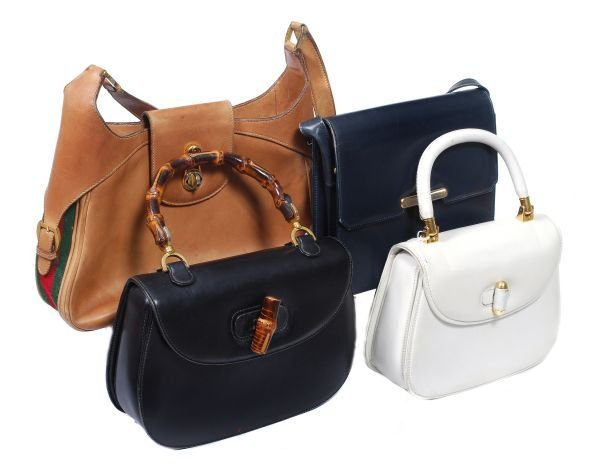 Four assorted handbags,  comprising: a white leath