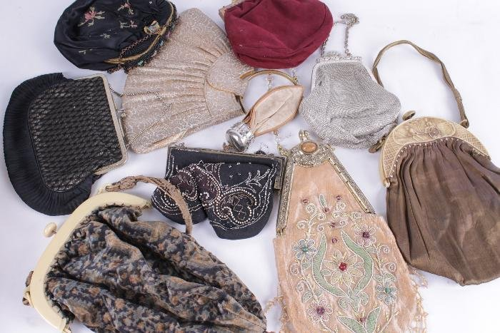 A quantity of handbags,  including leather, beaded