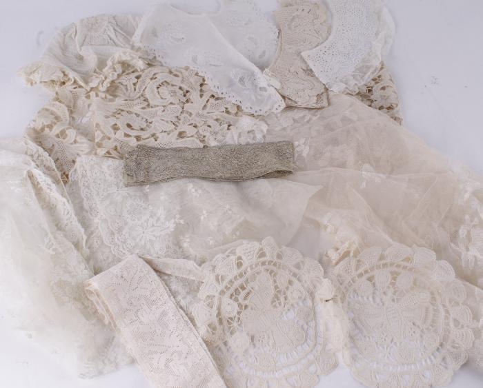 A border of tape lace,  16cm x 144cm; an infant's