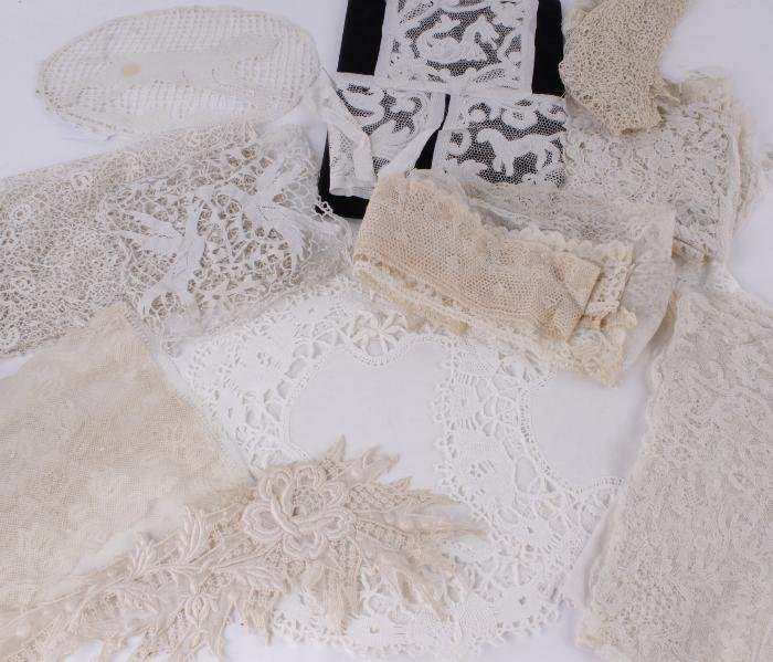 Three cocktail mats of bobbin lace,  designed with