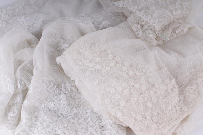 A flounce of Carrickmacross lace,  4m long; a pane