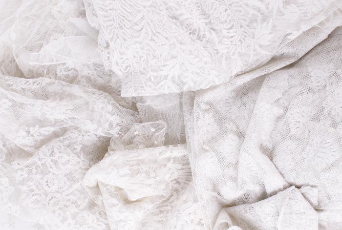 A late 19th century flounce of Carrickmacross lace