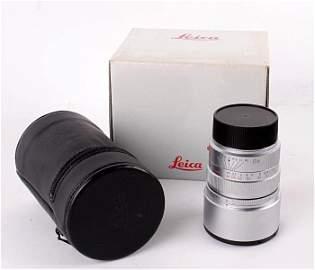 A Leica Summicron-M 1:2/90mm lens,  silver chromiu