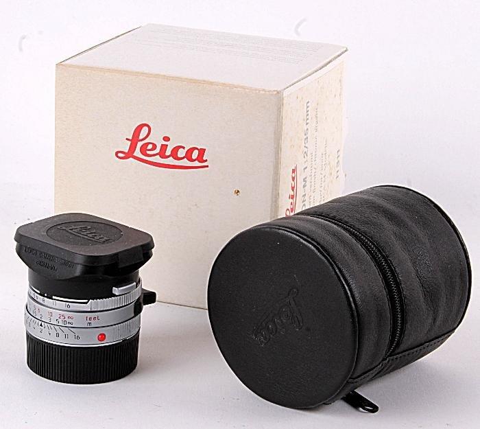 A Leica Summicron-M 1:2/350mm lens,  silver chromi