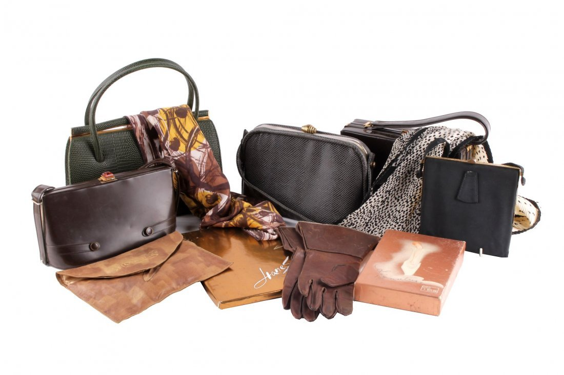 A collection of vintage shoes, handbags and accessories