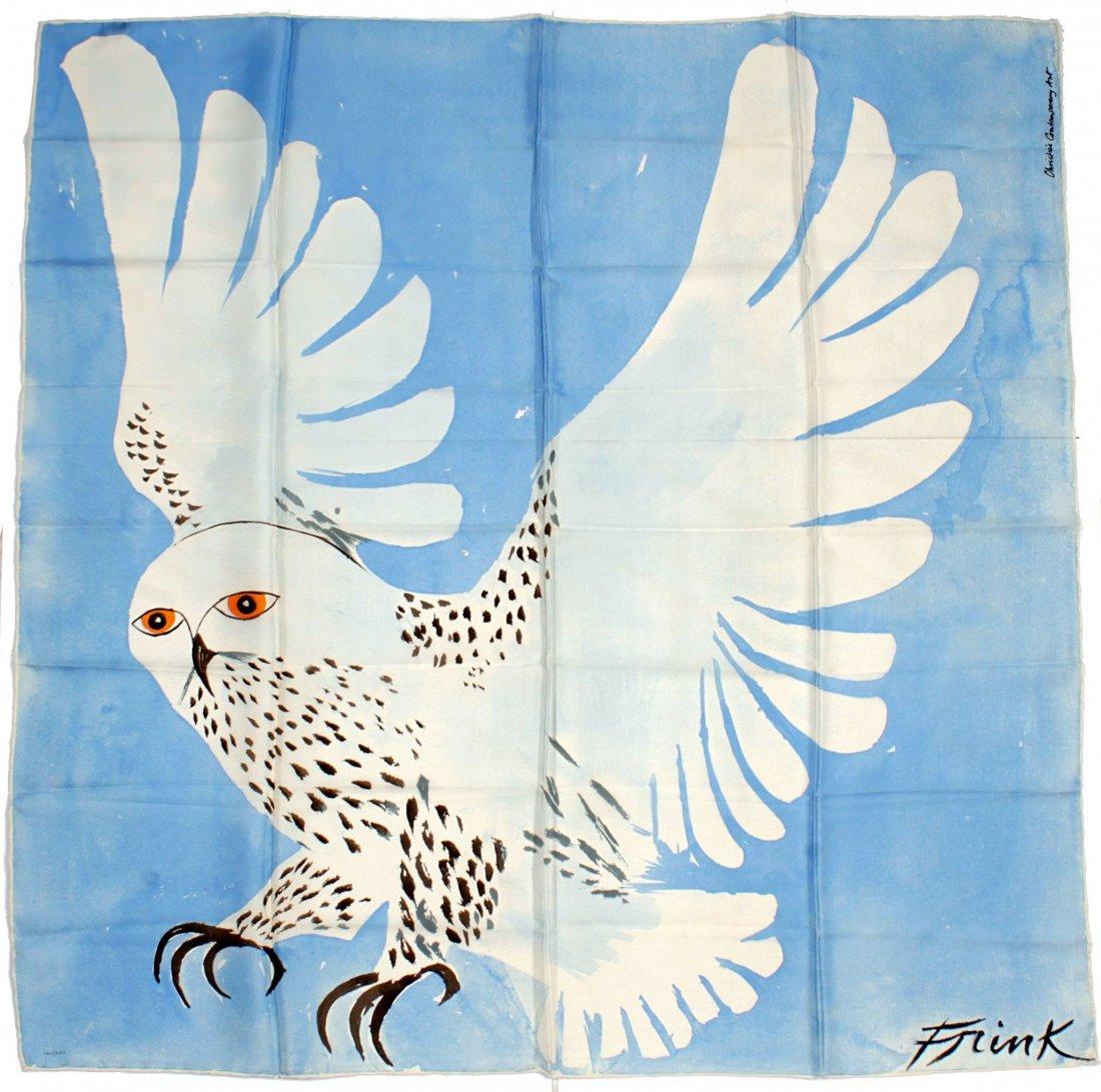 Elisabeth Frink , a silkscreen scarf, 'Snowy Owl', 1983
