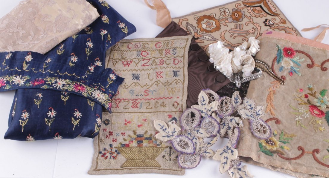 A collection of textiles and trimmings, comprising a