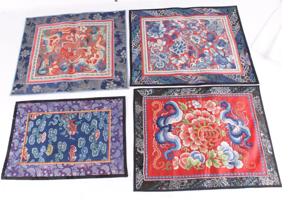 A collection of Chinese textiles, comprising a pair of