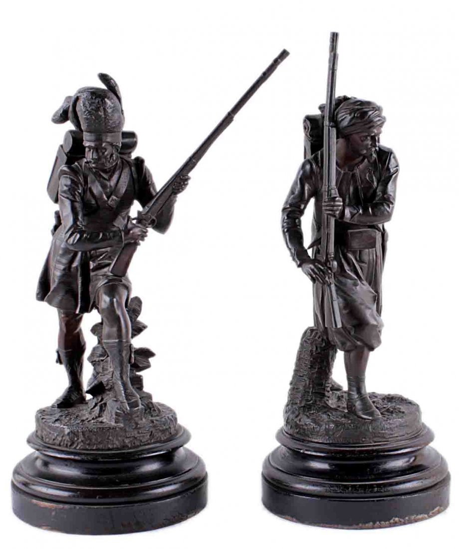 A Bronze Finished Spelter Figure of a Advancing