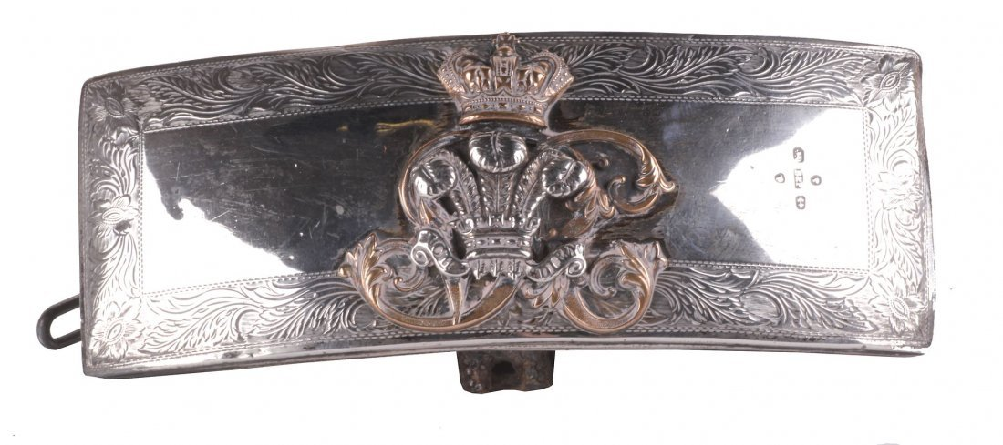 A Victorian Silver Mounted Officer's Belt Pouch by Bent