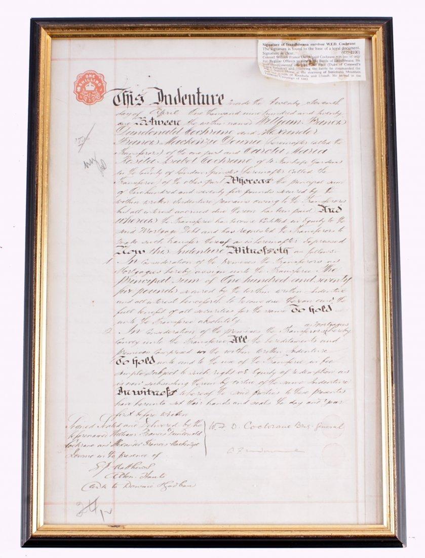 Isandhlwana - An Indenture Bearing the Signature of