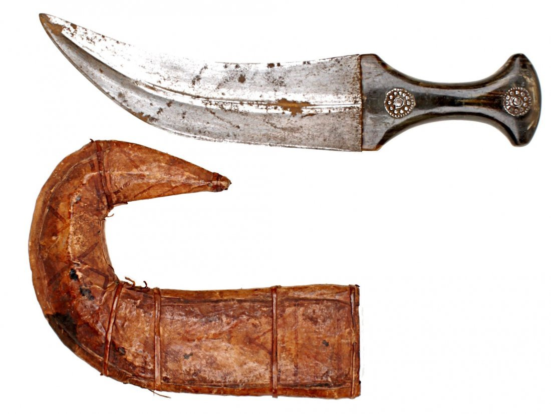 A North African Jambiya Dagger , of typical form, the