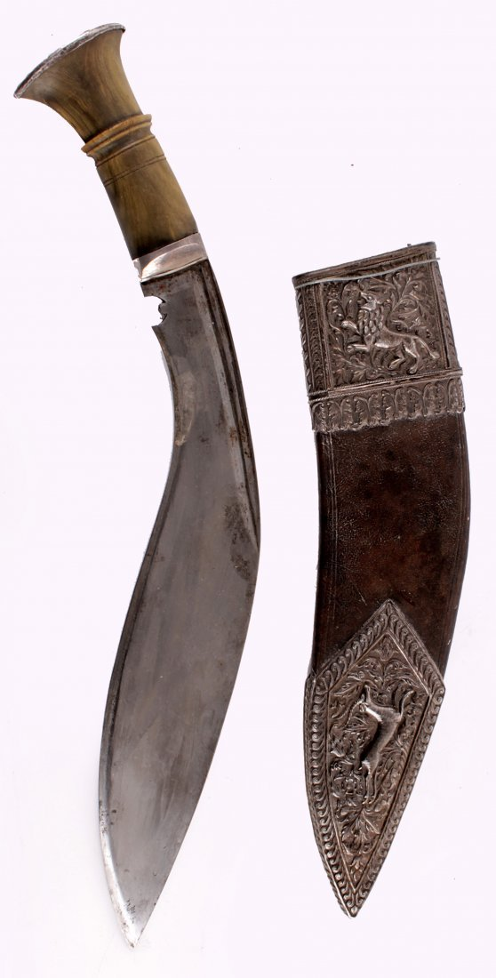 A Fine Silver Mounted Nepalese Kukri of typical form