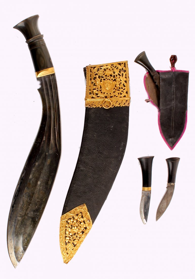 A Fine Gold Mounted Nepalese Kukri of typical form,