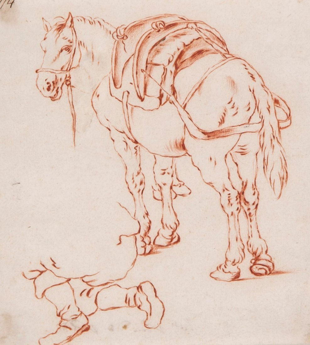 Dutch School (18th Century) - Study of a horse with