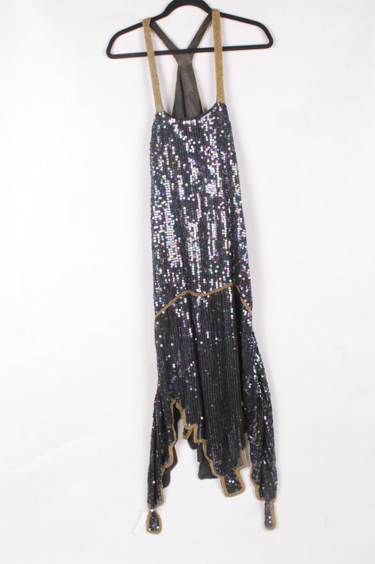 A 1920s sequin and bead flapper dress, believed to have