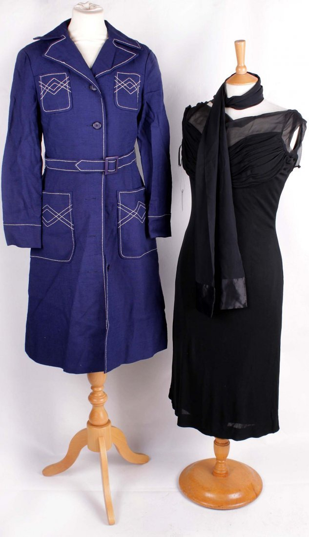 A 1950s Cresta Couture brocade evening dress; together