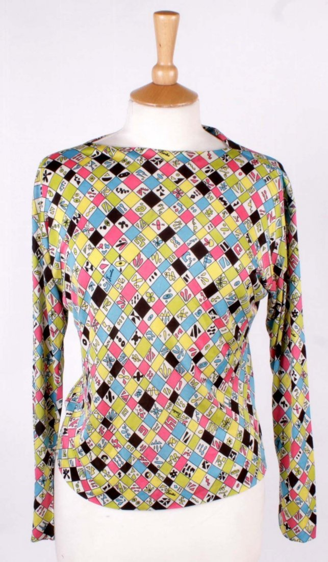An Emilio Pucci blouse; together with a Harrods vintage
