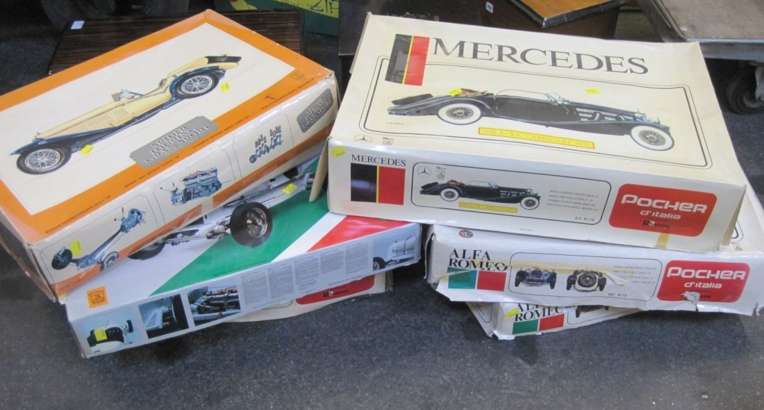 Six Pocher 1:8 scale model kits, comprising: five Alfa