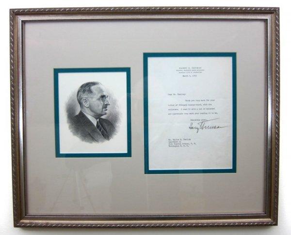 9: Autographed Letter, Harry Truman